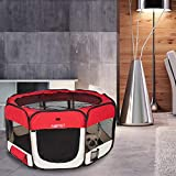 AQPET Box per Animali Cani e Gatti Cuccioli recinto Pieghevole Tessuto Impermeabile (Rosso, Rosso)