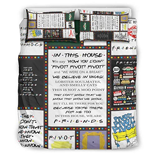 CATNEZA Bedspread Quilt Bedding Set Friends Quotes Fun Microfibre All Year Round Funny Pattern 3-Piece Duvet Cover Duvet Cover for Children White 264 x 229 cm