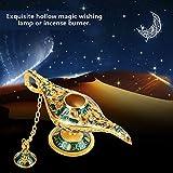 Mini Genie Licht Lampe, Aladdin Licht Magie Genie Licht Metall geschnitzte hohle Legende Lampe Wunsch Licht Lampe Topf Dekor(# 2) - 5