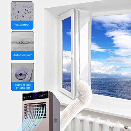 Aozzy AirLock 100 Fensterabdichtung für mobile Klimageräte und Ablufttrockner klimaanlage fensterabdichtung (Fenster 400CM, Weiß)