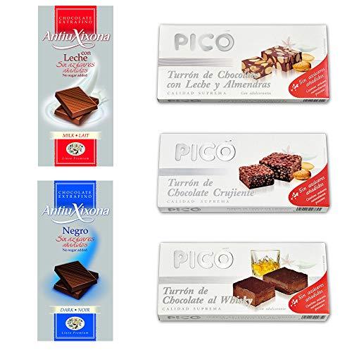 Lote de chocolates sin azúcar, degustación de diferentes marcas Picó y Antiu Xixona. [5 Variedades]