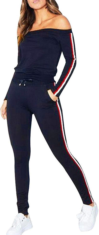 Wlsomegoo Women's Casual Stripe 2 Pieces Outfits Sweatshirt + Long Pants Sweatsuits Set Tracksuits