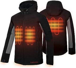 CONQUECO Men's Heated Jacket Waterproof Softshell Fleece Hoodie Jacket Outdoors Battery Pack