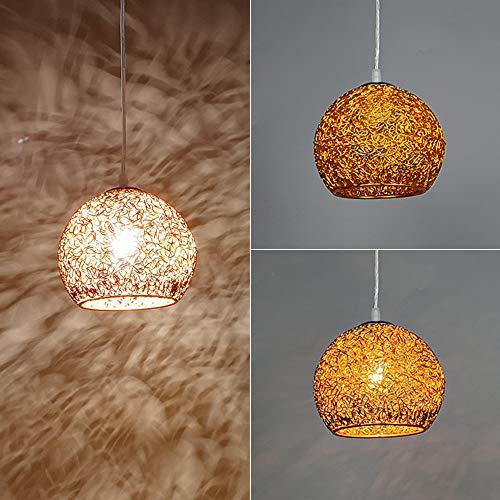 Wankd Moderne Kronleuchter, Nordisch Lampe Aluminiumdraht Pendelleuchte E27 Lampenfassung   Macaron Design Hängeleuchte Leucht für Wohnzimmer, Küche oder Hängend über den Esstisch (Gold)