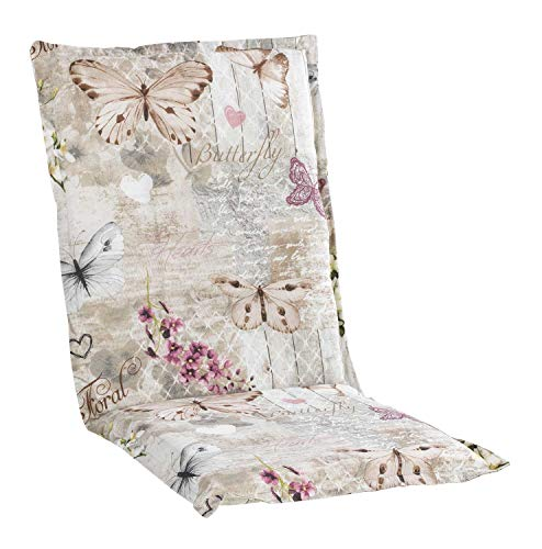 Nicht Zutreffend Sesselauflage Sitzpolster Gartenstuhlauflage für Mittellehner | 50 cm x 110 cm | Natur | Schmetterlinge | Baumwolle | Polyester