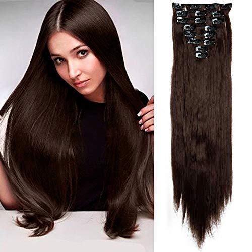Elailite Clip in Hair Extension per Capelli Lisci 8 Fasce Sintetiche Full Head Lunghi 58cm Pesa 140g Effetto Naturale - Marrone Cioccolato