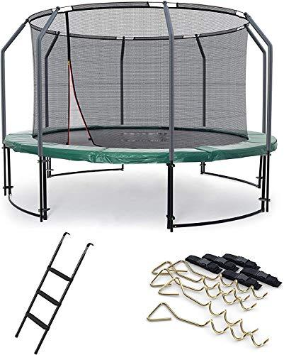 Trampolín, funda de borde, kit de escalera y seguridad con redes de seguridad, trampolín de jardín,490 cm