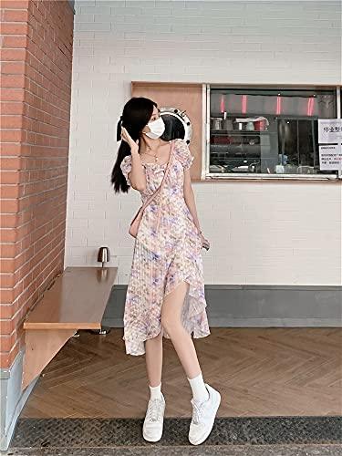 LYMZZY El Nuevo Vestido Floral francés de Verano, Las Mangas de Soplo Muestran un Vestido Plisado Delgado y Alto (Color : Pink, Size : M)