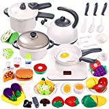 Play Kitchen Accessories Toys, 46Pcs Kids Toy Kitchen Sets with Electronic Hot Plate, Cookware Pots and Pans Playset, Cutting Play Food, Pretend Play Kitchen Toys Set Cooking Set Gift for Boys Girls