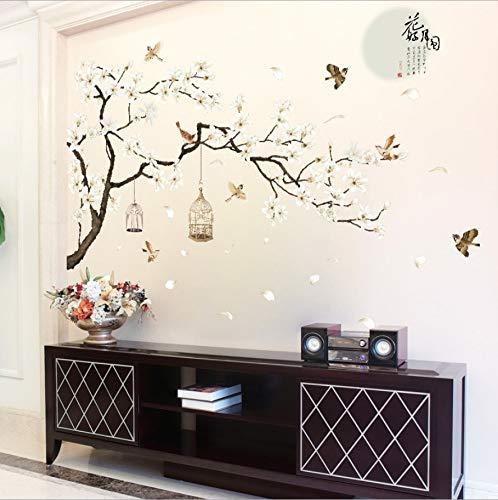 China Stijl Maan Planten Muursticker Voor Slaapkamer Raam Deur Kamer Decoratie Plant Plane Mural Pastrol Verwijderbare Diy Wallposter