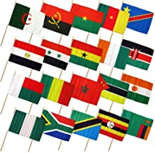 Moon Knives Set of 20 Africa African Countries 4''x6'' Desk Table Stick Flag (No Bases) - Party Decorations Supplies For Parades - Prime Outside, Garden, Men Cave Decor Flag