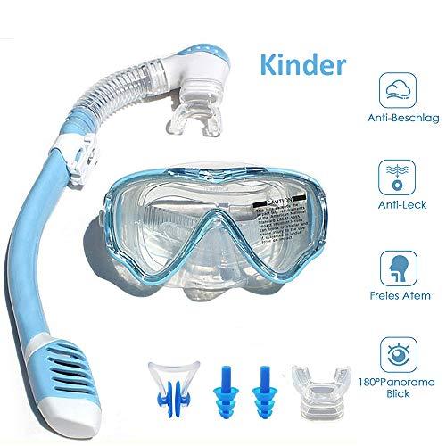 VILISUN Taucherbrille mit Schnorchel Anti-Leck Anti-Fog Schnorchelset Tauchset aus Gehärtetem Glas, ideal für Tauchen, Schnorcheln und Schwimmen, Blau Set1 (Kinder)