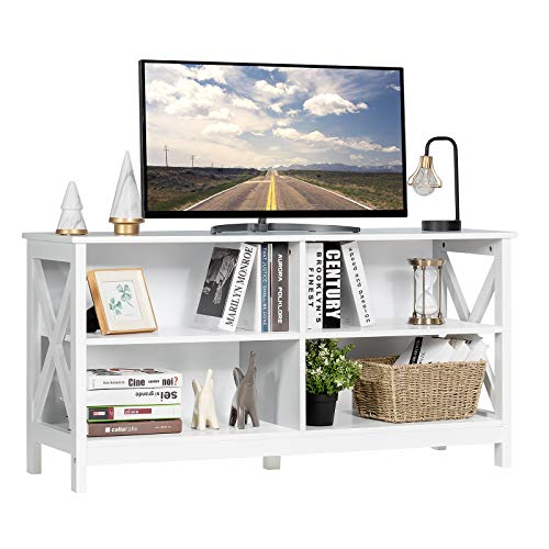 Tangkula Farmhouse Wooden Universal TV Stand for TVs up to 55 Inches Flat Screen, Rustic Entertainment Center with Open Storage Shelves for Living Room Bedroom, TV Console Table (White)