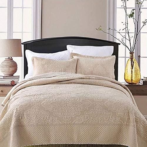 Superweiche Tagesdecken Bettdecke Einfarbige Stickerei 100prozent Baumwolle Gesteppte Steppdecke Überwurf 3-teilige Bettdekoration Multifunktionsdecke / Bettdecke + 2 Kissenbezug, Beige-King: 240x270cm + 50