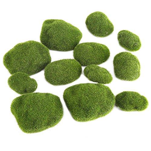 Aramox Piedras de Musgo Artificiales, 12 Piezas de Musgo Verde Cubierto de Rocas Decorativas Simulación de Hierba Bryophyte Bonsai jardín DIY decoración de Paisaje