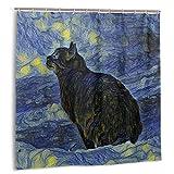 goodsaleA Cortina de Ducha,Pintura Digital Shambhala Cat In Vincent Van Gogh Impresionista Art Style Fabric Baño Decoración Set con Ganchos 150cmx180cm