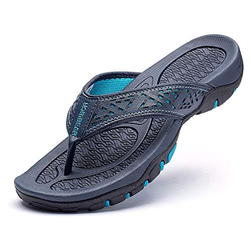 CELANDA Chanclas Piscina Hombre Verano Deportivo de Playa Sandalias Flip Flop Antideslizante Confortable Ducha Zapatillas Azul 43EU