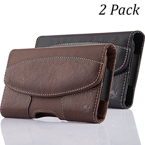 iNNEXT 2 Pack iPhone 8 Plus Pouch Case, Premium Horizontal Leather Case Pouch Holster with Magnetic Closure with Belt Clip Holster and Belt Loops for iPhone 7 Plus / 6S Plus 5.5 inch (Brown/Black)