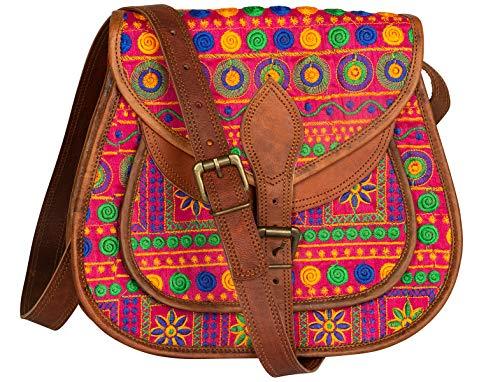 Leather Purse Boho Colorful Crossbody Satchel Shoulder Bag Vintage Casual Hippie