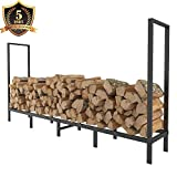 indoor fireplace wood - FOYUEE Firewood Rack Outdoor 8Ft Log Holder for Fireplace Indoor Fire Wood Storage Holding Stand Heavy Duty