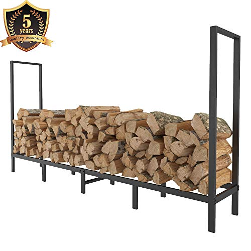 FOYUEE Firewood Rack Outdoor 8Ft Log Holder for Fireplace Indoor Fire Wood Storage Holding Stand Heavy Duty