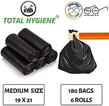 TOTAL HYGIENE Garbage Bag (Medium) Size 19 Inch x 21 Inch (180 Bags) (6 Rolls)