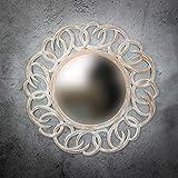 Rococo Espejo de Pared Decorativo Tulasi Circle de 100cm en Blanco decapado