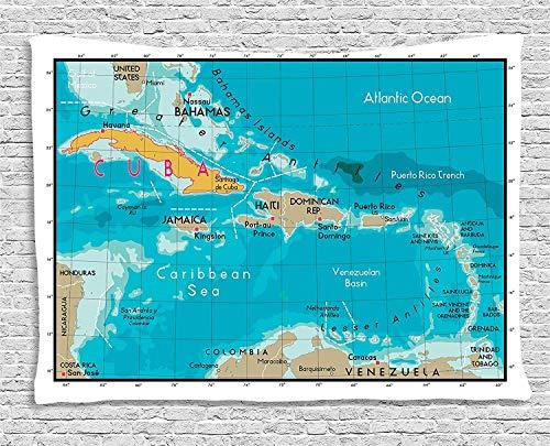 Soefipok Wanderlust Decor Collection, Mapa de Cuba y mar Caribe Mar Geografía División política Fronteras terrestres, Dormitorio Sala de Estar Dormitorio Colgante de Pared Tapiz
