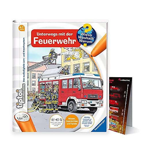 tiptoi Ravensburger Buch Wieso? Weshalb? Warum? 4-7 | Unterwegs mit der Feuerwehr + Kinder Feuerwehr Auto Poster