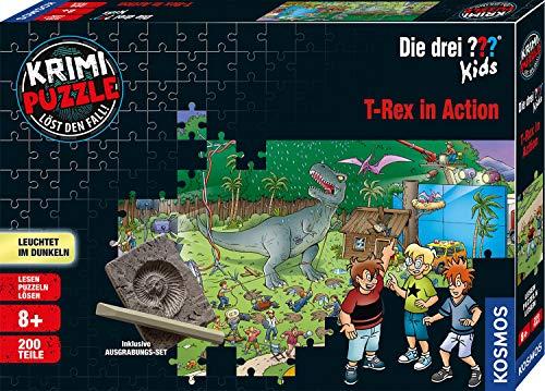 KOSMOS 680657 Krimi Puzzle Die drei ??? Kids – T-Rex in Action, Leuchtet im Dunkeln, 200 Teile, inkl. Ausgrabungs-Set, Lesen - Puzzeln - Rätsel lösen, für Kinder ab 8 Jahre