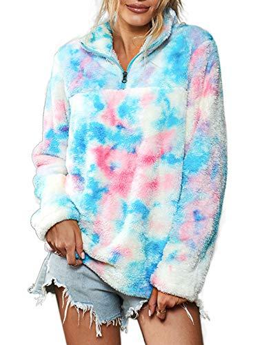 CORAFRITZ - Sudadera con cremallera para mujer, diseño de lazo con lazo de arco iris, forro polar, para mujer