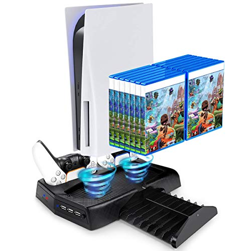 PS5 Vertical Stand for Playstation 5 with Cooling Fan and Controller Charger,Multifunctional PS5 Charging Station Dock with Dual Controller Charger Ports and Retractable Game Storage