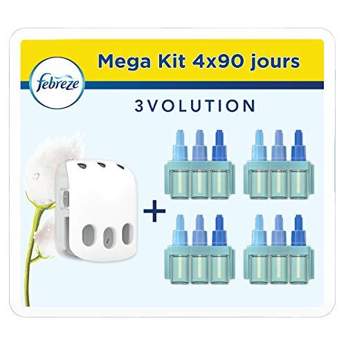 Febreze Kit Prise + 4 Recharges Désodorisant Maison, Élimine les odeurs persistantes, Pureté de Coton, 7 ml