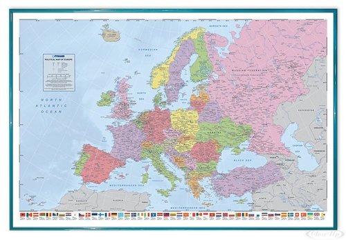 Close Up Politische Europa Landkarte Poster, in Englisch (63,5x94 cm) gerahmt in: Rahmen türkis