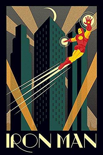 Iron Man Póster de Arte Decorativo Retro (61cm x 91,5cm) + 2 Marcos Negros para póster con suspención