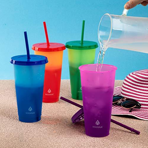 Juego de vasos reutilizables con popote, cambian de color (12 vasos)