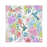 TropicalLife HaJie Tovaglioli di carta satinata, motivo uccelli colibrì e fiori, tovaglioli riutilizzabili, per tavolo e bambini, 50,8 x 50,8 cm, 6 pezzi