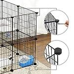 SONGMICS Enclos modulable pour Petits Animaux, Cage intérieur, 2 Niveaux, Maillet en Caoutchouc Offert, Cochon d'Inde, Lapin, Assemblage Facile, 143 x 73 x 71 cm (L x l x H), Noir LPI02H #3
