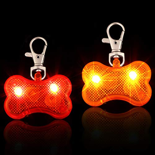 Frienda 2 Pieces Dog Collar LED Lights Glow in The Dark Dog Collar ID Tag Waterproof Plastic Dog Bone Tag Light Pet Safety Night Walking Lights for Dogs Night Time Walking Camping