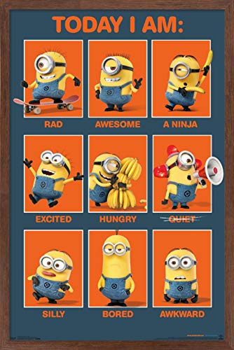 Trends International Illumination Despicable Me - Today I Am Wall Poster, 22.375' x 34', Mahogany Framed Version