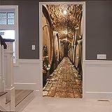 3D Tür Aufkleber Kunst Weinkeller Aufkleber (77X200 Cm) Vinyl Wasserdicht Abnehmbare Dekorative Papier Wandbilder Für Zuhause Badezimmer Wohnzimmer Schlafzimmer Dekor