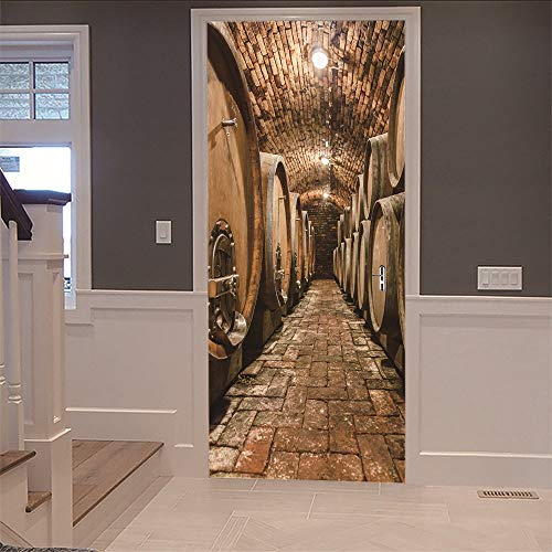 Calcomanías de las puertas en 3D Arte Etiqueta de Bodega de Vino (77X200Cm) Vinilo Impermeable Extraíble Murales de Papel Decorativos Para el Hogar Baño Sala de estar Dormitorio Decoración