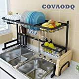 Dish Drying Rack Over Sink, Drainer Shelf for Kitchen Drying Rack Organizer Supplies Storage Counter Kitchen Space Saver Must Have Utensils Holder Stainless Steel (Sink Size≤32 1/2 Inch, Black)