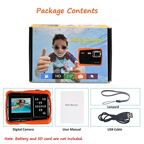 Waterproof Digital Camera for Kids, LINNNZI 12MP HD Underwater Action Camera Camcorder with 2.0 Inch LCD Display, 8X Digital Zoom, Flash and Mic