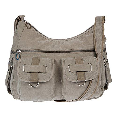 Christian Wippermann Damenhandtasche Schultertasche aus Canvas (Grau Grün)
