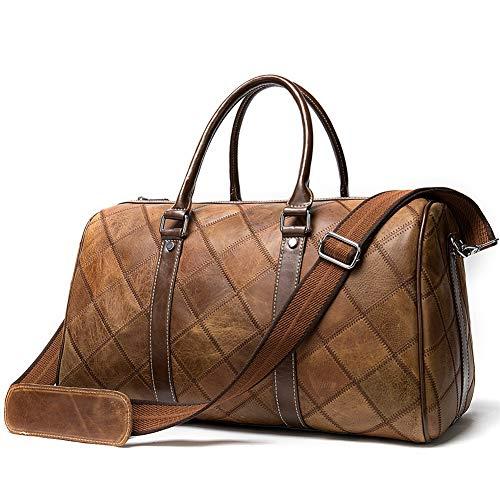 HUAXM Echtes Leder Duffle Bag Messenger Business Bag Vintage-Aktenkoffer Geschäfts-Laptop-Schulter-Handtaschen College-Tasche für Reise, 3
