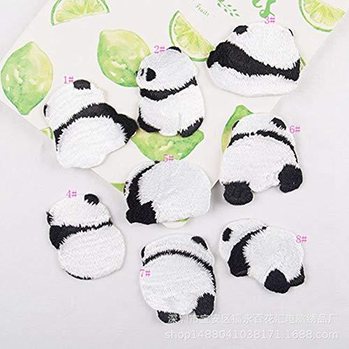 Egurs strijkpatch 8 stuks zoete panda patch dier patroon opstrijkpatch opstrijkpatch kinderen DIY T-shirt jeans
