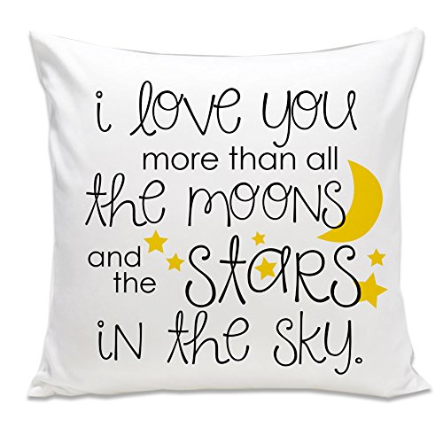 Zoey's Attic Love You More Than All The Moons and Stars Throw Pillow Special Birthday Gift