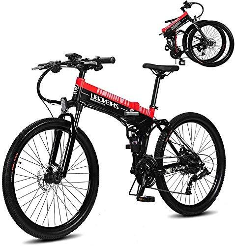 "Qinmo Elektro-Fahrrad, 26\"" Electric Mountain Bike 400W Folding Ebike mit 48V 10AH Lithium-Ionen-Akku 27 Speed Gear, Herren MTB Pendeln/Offroad Elektro-Fahrrad (Color : Red 2)"