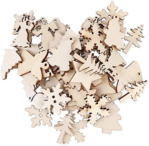 LIOOBO 100 piezas adornos de madera de Navidad etiquetas de rodajas de madera regalo para colgar adornos de Navidad (12 modelos surtidos)
